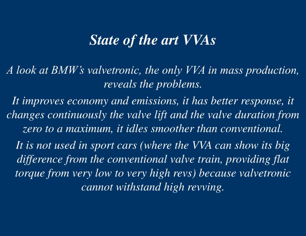 State of the art VVAs