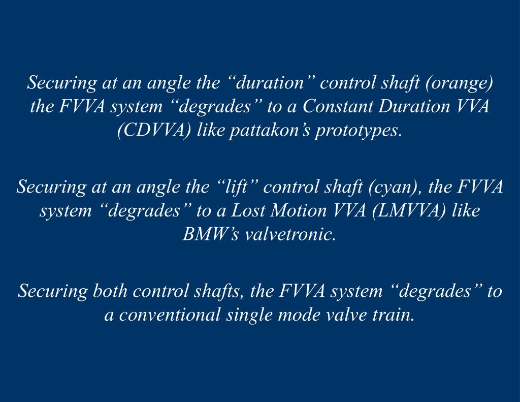 """Securing at an angle the """"duration"""" control shaft (orange) the FVVA system """"degrades"""" to a Constant Duration VVA (CDVVA) like pattakon's prototypes."""