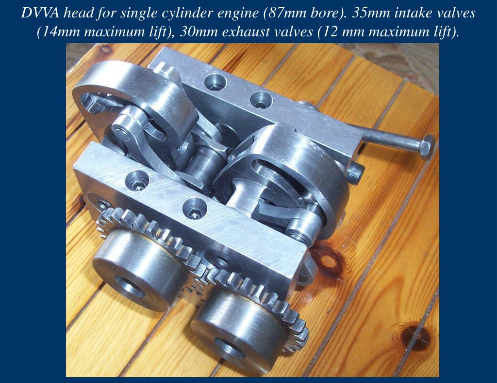 DVVA head for single cylinder engine (87mm bore). 35mm intake valves (14mm maximum lift), 30mm exhaust valves (12 mm maximum lift).