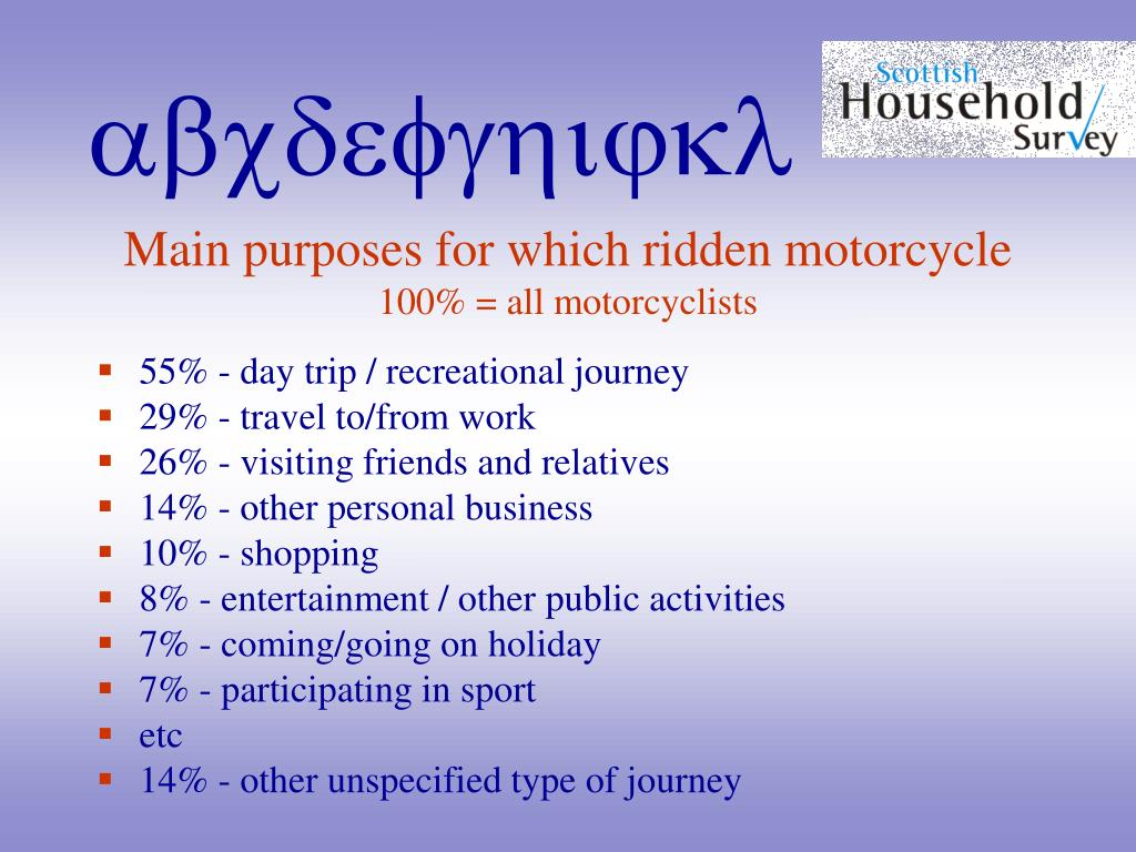 Main purposes for which ridden motorcycle