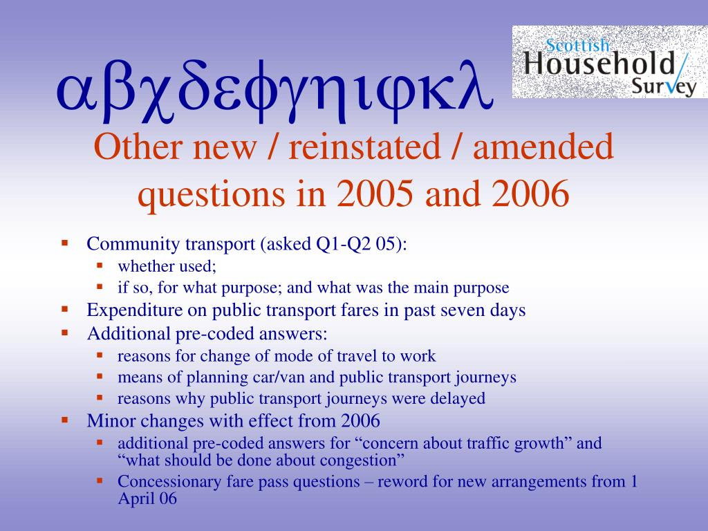 Other new / reinstated / amended questions in 2005 and 2006