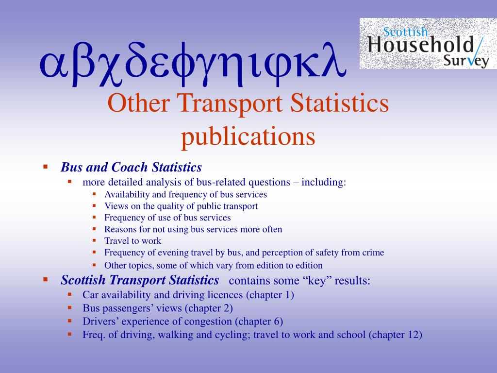 Other Transport Statistics publications
