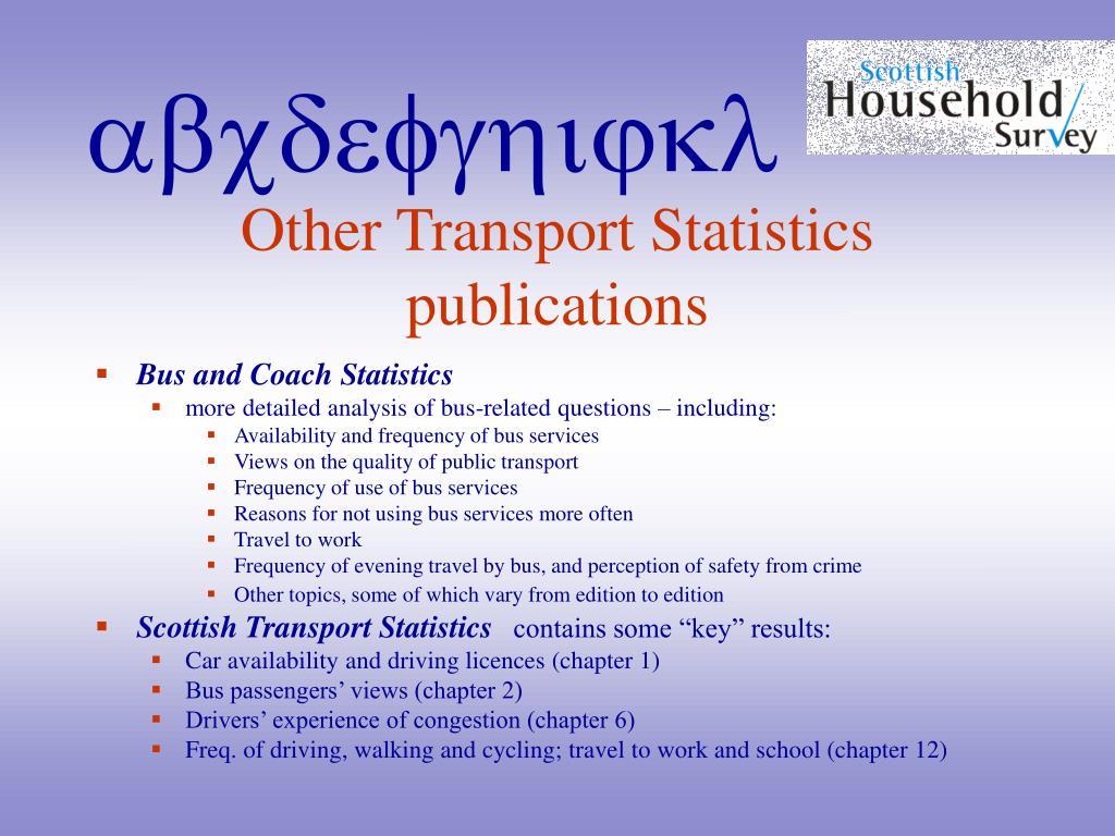 Other Transport Statistics publications