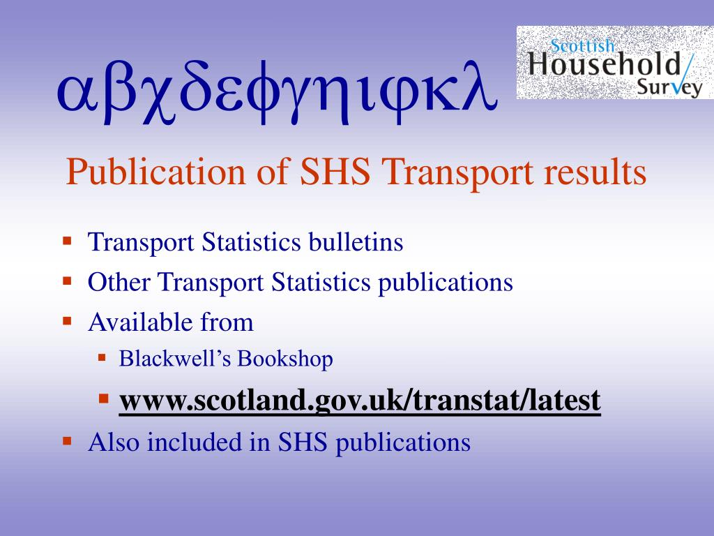 Publication of SHS Transport results