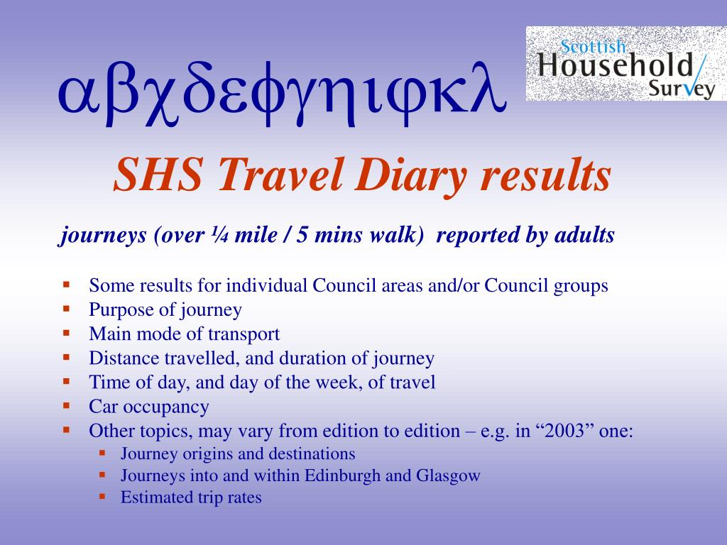SHS Travel Diary results
