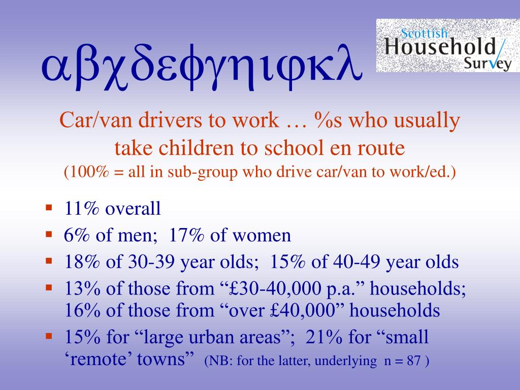 Car/van drivers to work … %s who usually take children to school en route