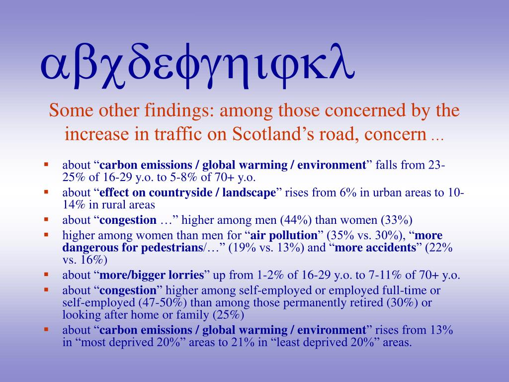 Some other findings: among those concerned by the increase in traffic on Scotland's road, concern
