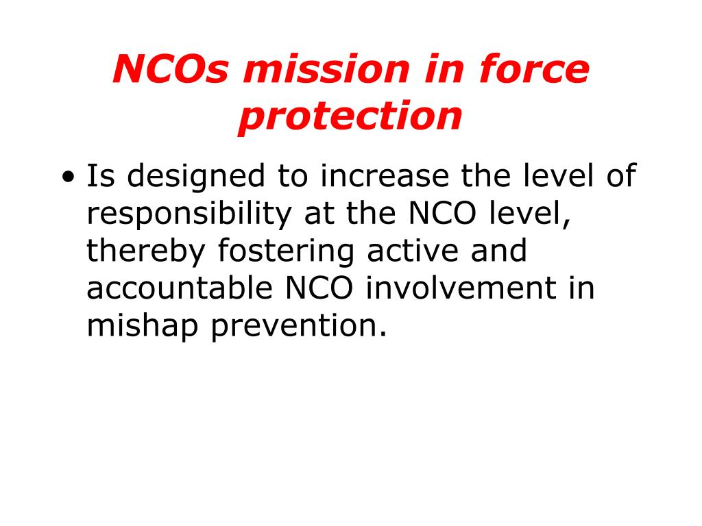 NCOs mission in force protection