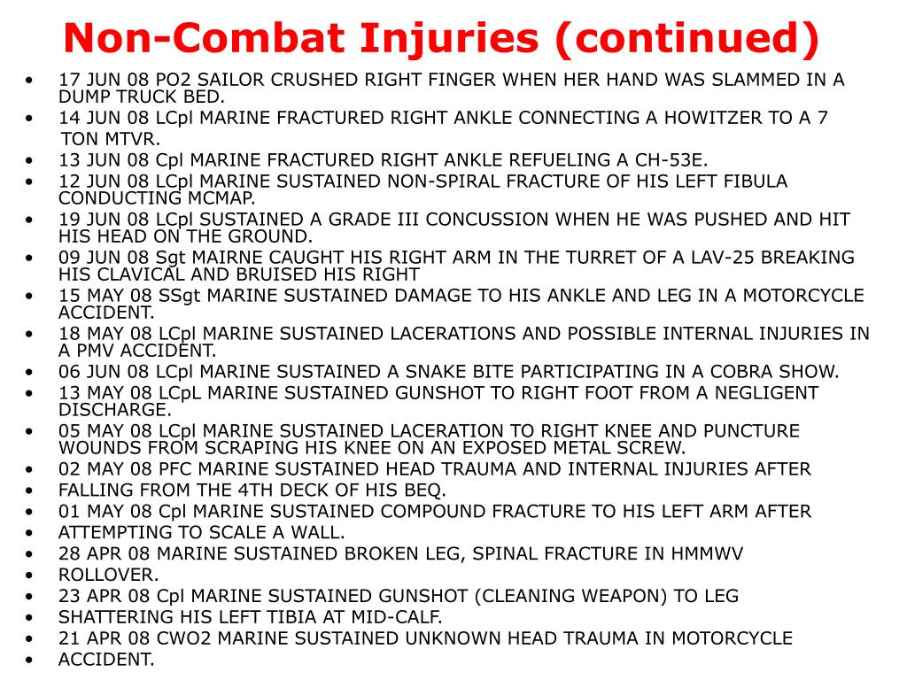 Non-Combat Injuries (continued)
