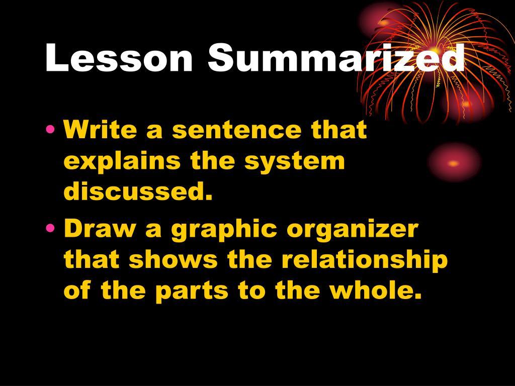 Lesson Summarized