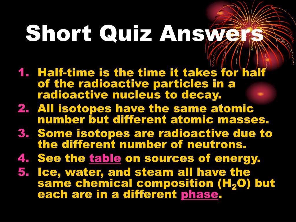 Short Quiz Answers