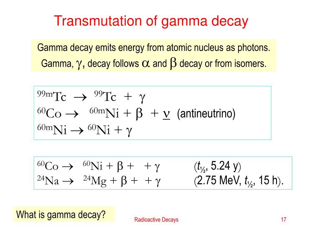 Transmutation of gamma decay