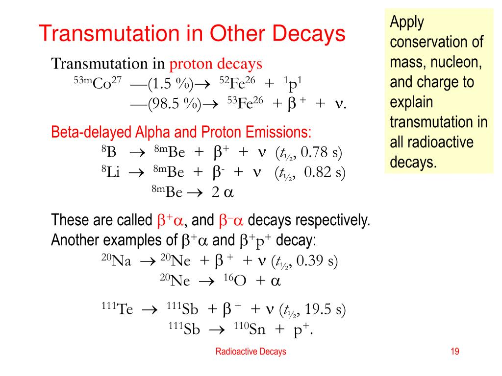 Apply conservation of mass, nucleon, and charge to explain  transmutation in all radioactive decays.