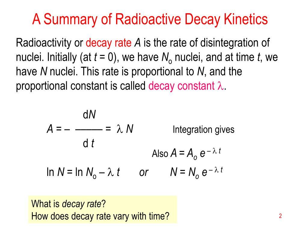 A Summary of Radioactive Decay Kinetics