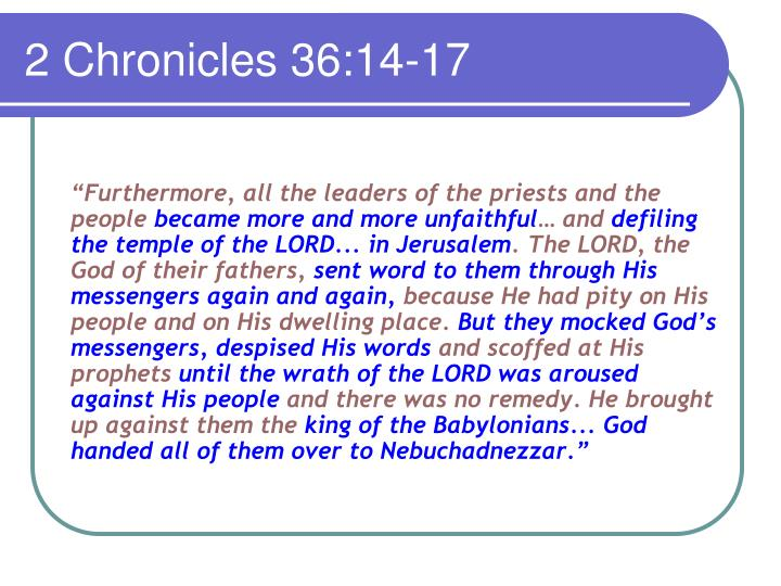 2 Chronicles 36:14-17