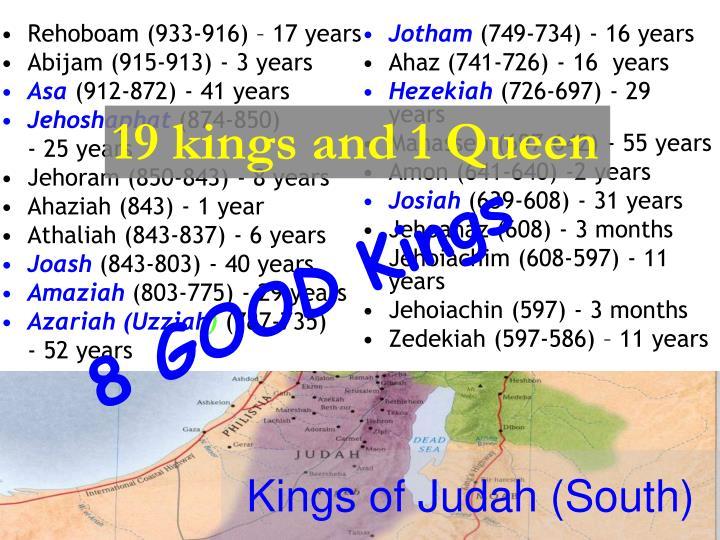 Rehoboam (933-916) – 17 years