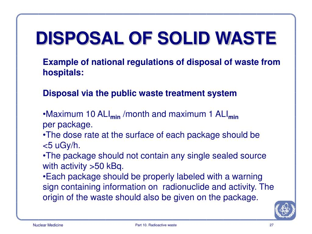DISPOSAL OF SOLID WASTE