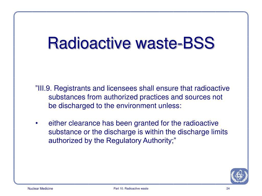 Radioactive waste-BSS