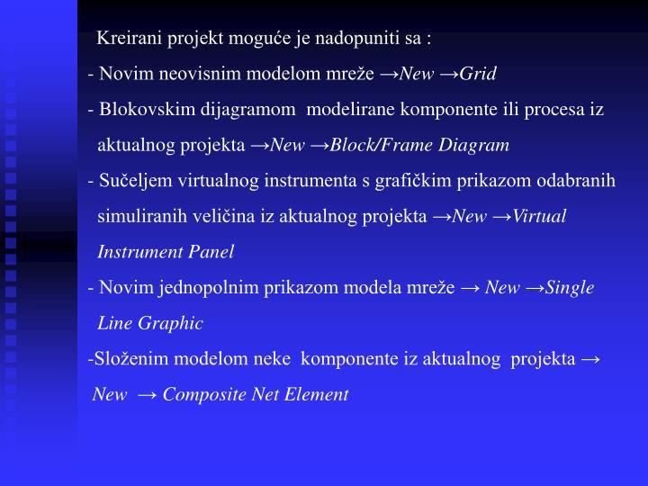 Kreirani projekt moguće je nadopuniti sa :