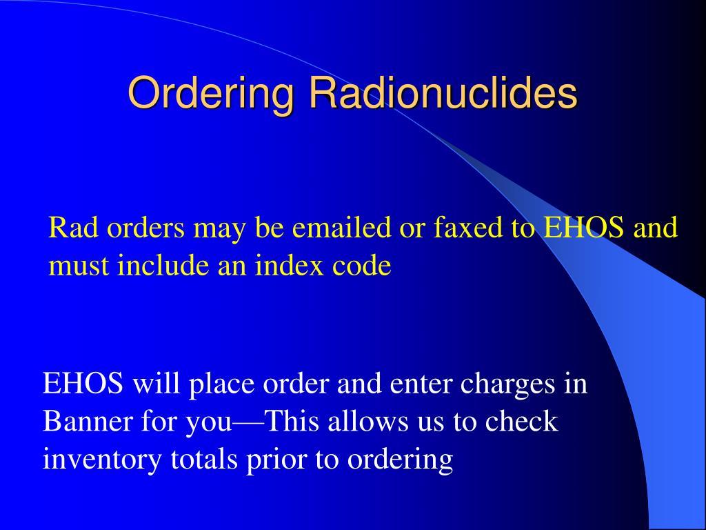 Ordering Radionuclides