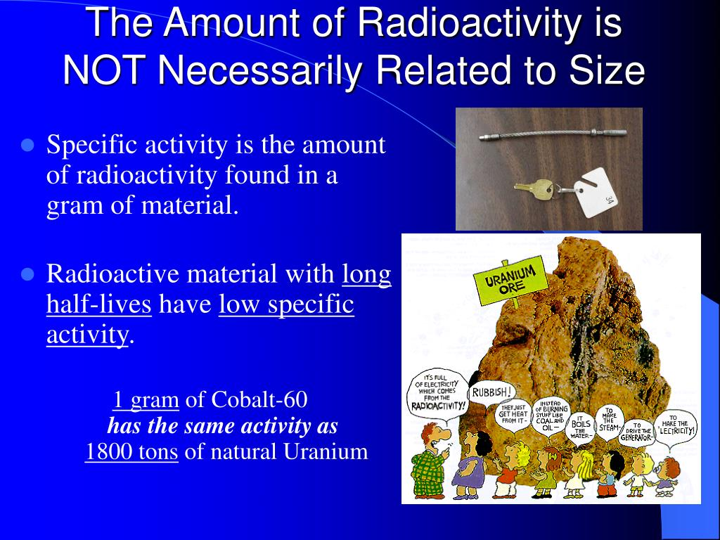 The Amount of Radioactivity is NOT Necessarily Related to Size