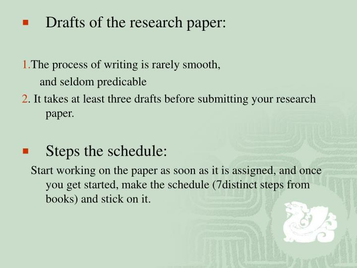 Drafts of the research paper: