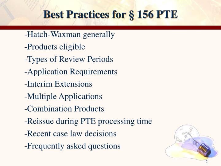 Best practices for 156 pte