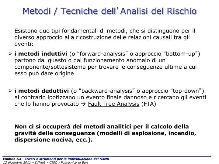 Metodi / Tecniche dell