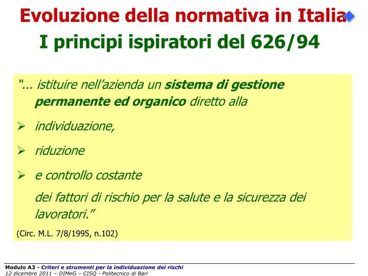 Evoluzione della normativa in Italia