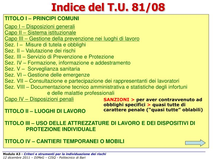 Indice del T.U. 81/08
