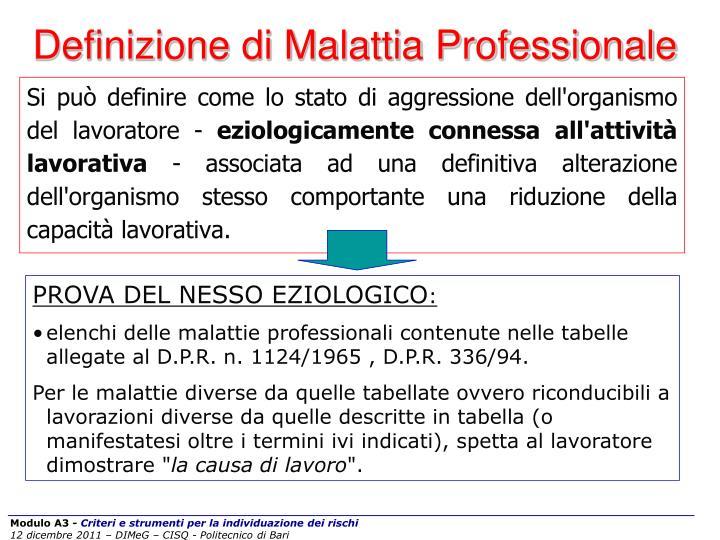 Definizione di Malattia Professionale