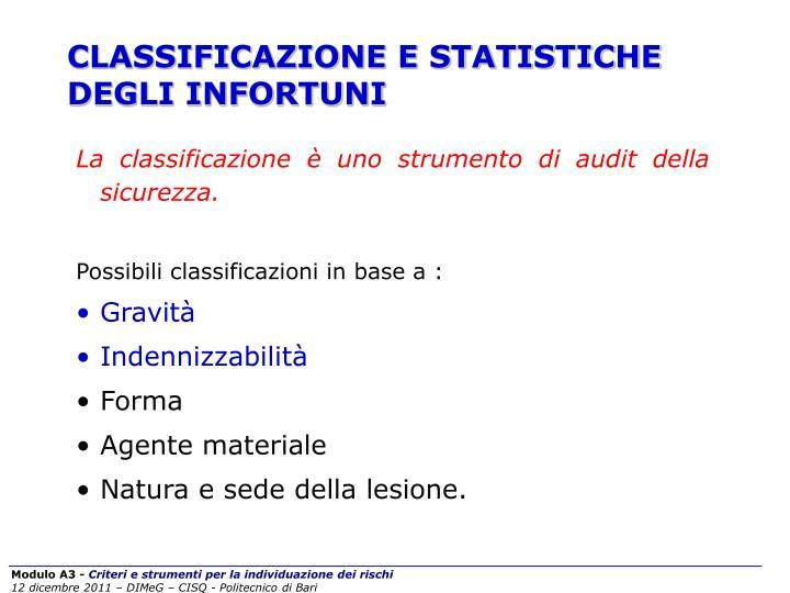 CLASSIFICAZIONE E STATISTICHE