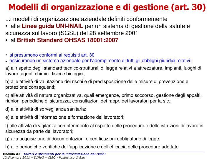 Modelli di organizzazione e di gestione (art. 30)