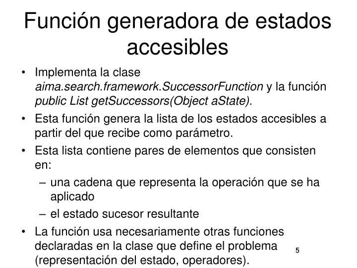 Función generadora de estados accesibles