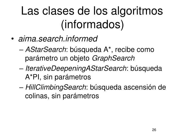 Las clases de los algoritmos (informados)