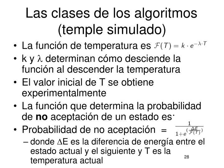 Las clases de los algoritmos (temple simulado)
