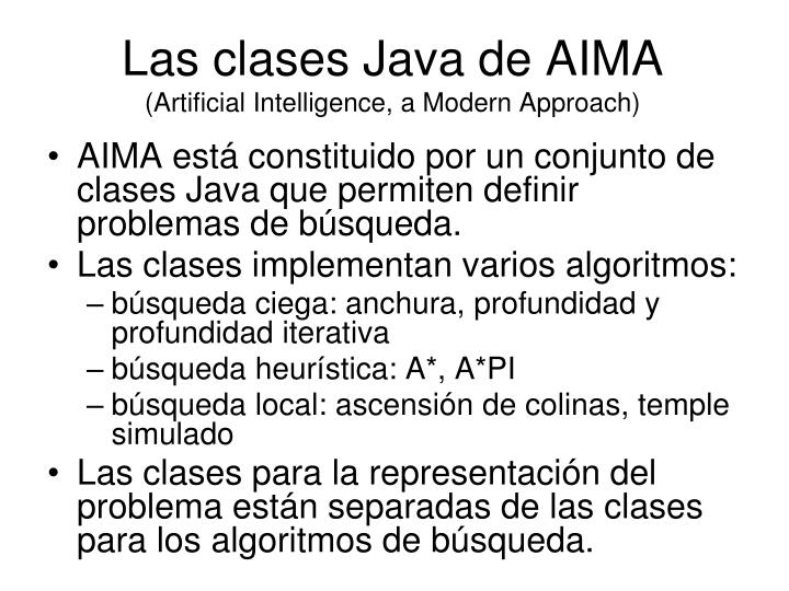 Las clases java de aima artificial intelligence a modern approach