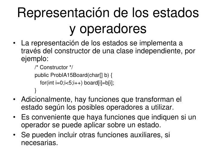 Representación de los estados y operadores