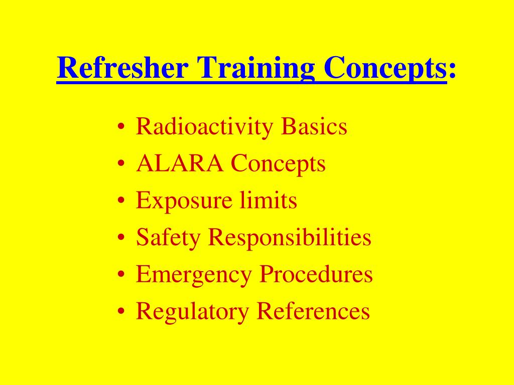 Refresher Training Concepts