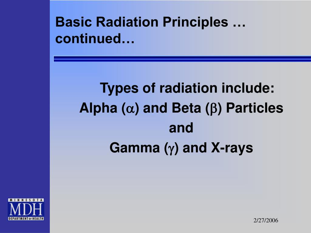 Basic Radiation Principles … continued…