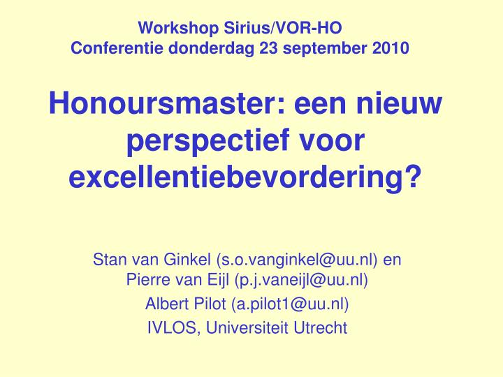 Workshop Sirius/VOR-HO