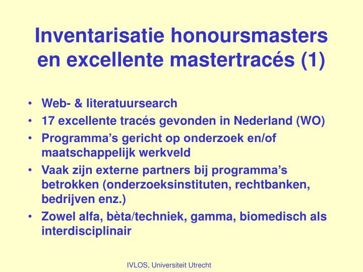 Inventarisatie honoursmasters en excellente mastertracés (1)
