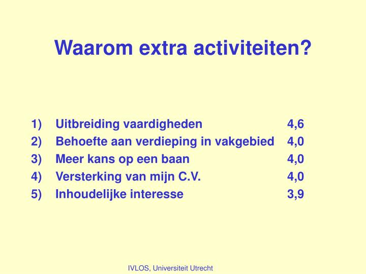 Waarom extra activiteiten?
