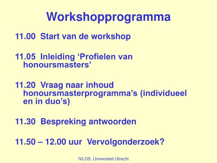 Workshopprogramma