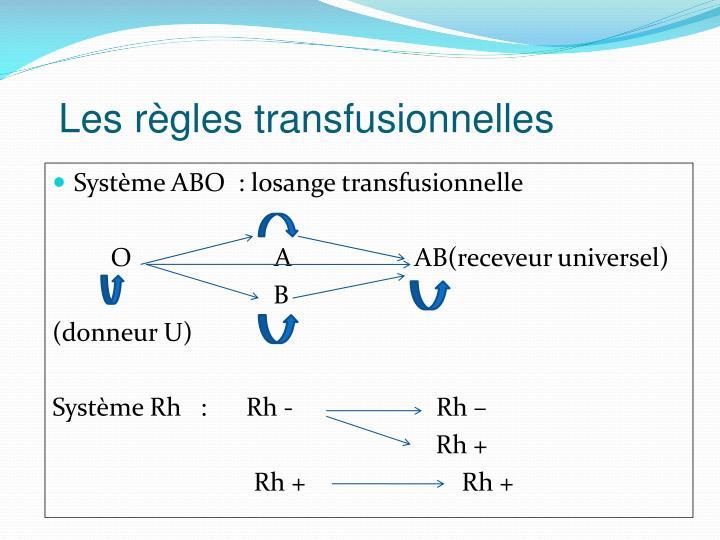 Les règles transfusionnelles