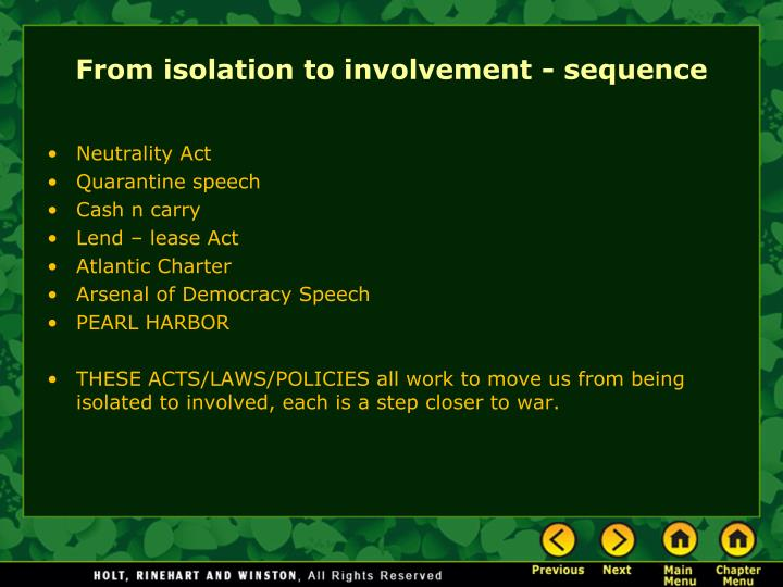 From isolation to involvement - sequence