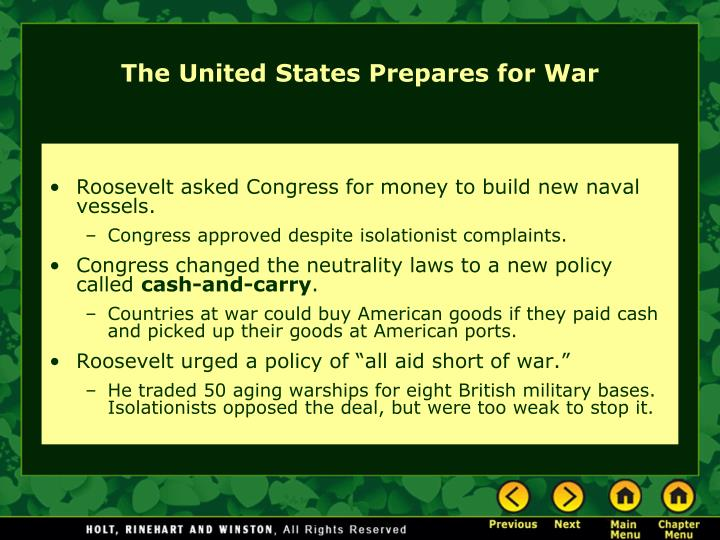 Roosevelt asked Congress for money to build new naval vessels.