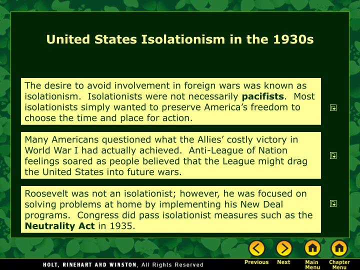 United States Isolationism in the 1930s