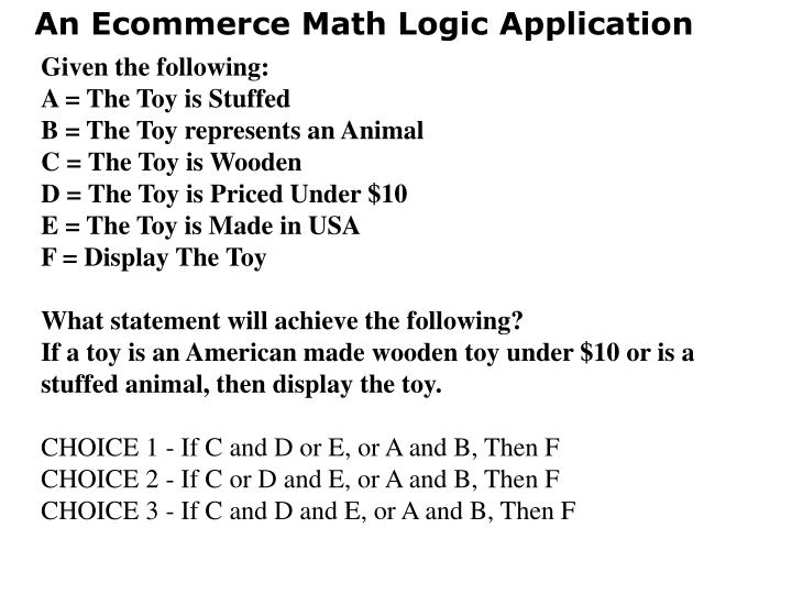 An Ecommerce Math Logic Application