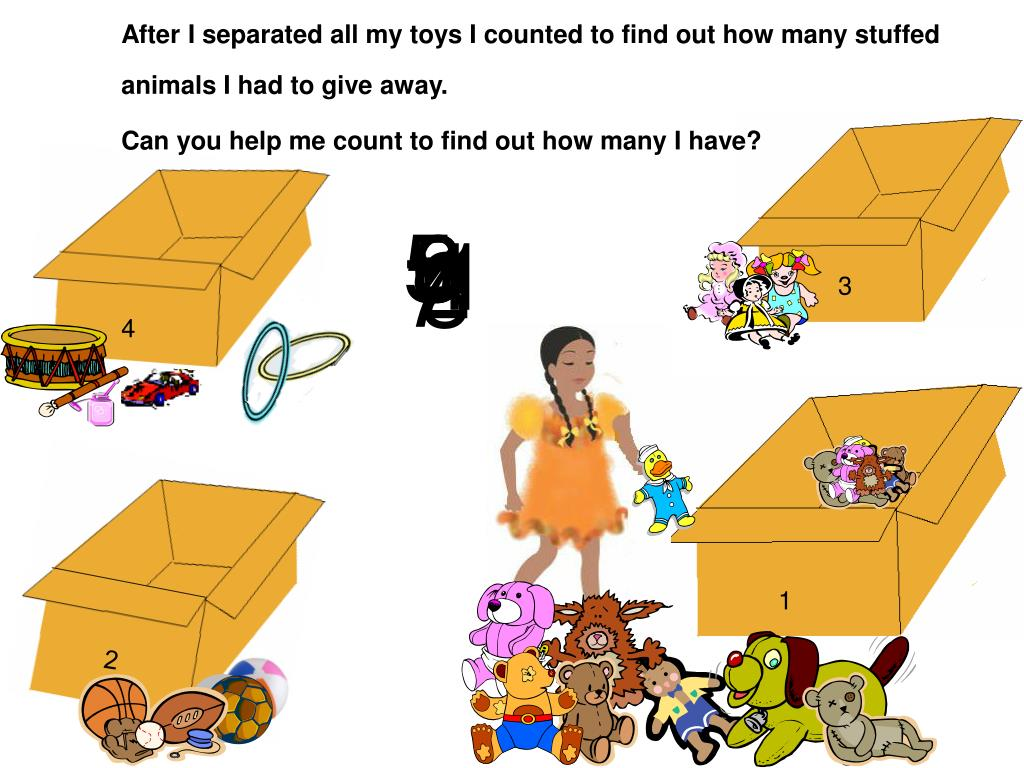 After I separated all my toys I counted to find out how many stuffed animals I had to give away.